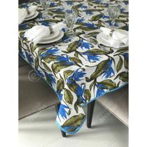 Toalha de Mesa em Gorgurinho Floral Azul e Verde -