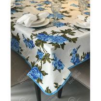 Toalha de Mesa em Gorgurinho Floral Azul -