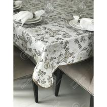Toalha de Mesa em Gorgurinho Floral Cinza -