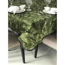 Toalha de Mesa em Gorgurinho Floral Folhagem -