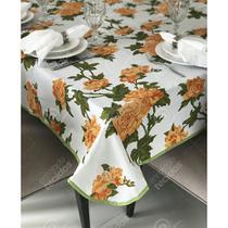 Toalha de Mesa em Gorgurinho Floral Laranja -