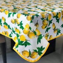 Toalha de Mesa em Gorgurinho Limão Siciliano Fundo Branco -