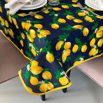 Toalha de Mesa em Gorgurinho Limão Siciliano Fundo Marinho -