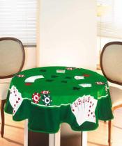 Toalha de Mesa Jogos Baralho Redonda 1,60m Aveludada Cartas II Dohler -