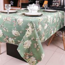 Toalha de Mesa Limpa Fácil Impermeável Verde Estampada Floral Quadrada - Moda Casa Enxovais