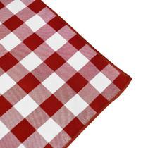 Toalha de Mesa Redonda em Tecido Xadrez Vermelho e Branco 1,50m - Festabox