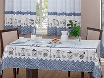 Toalha de Mesa Retangular Realce - Branca e Azul 220x145cm Casa Alegre 3 Lurdes