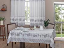 Toalha de Mesa Retangular Realce - Branca e Vinho 220x145cm Casa Alegre 3 Cora