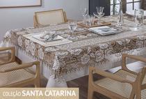 Toalha de mesa retangular renda - 6 lugares - marrom - Rendhac