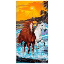 Toalha de Praia Aveludada Buettner Two Horses - Bouton