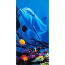 Toalha de Praia Aveludada Gigante Estampa Golfinho e Peixes - Buettner -