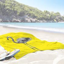 Toalha de Praia / Banho Flamingo Yellow One - Love Decor