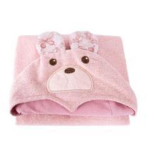 Toalha Infantil Atlântica Baby Sonhos De Princesa Rosa Chá Com Capuz -