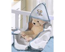 Toalha Infantil Buettner Baby Felpuda Bordada Little Dog Azul -