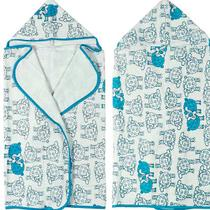 Toalha Infantil Dianneli Felpuda C/ Capuz Estampada Ovelhinhas Azul - Buettner