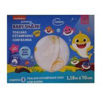 Toalha luxo cremer baby shark  c/3 unid. -