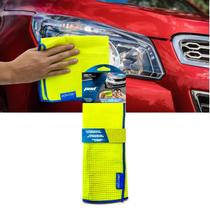 Toalha Microfibra Premium Limpeza Automotiva Amarelo e Azul para Carro e Moto - Pod1