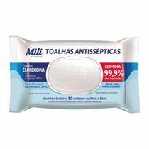 TOALHA UMEDECIDA ANTISSEPTICA 70º / C/50UN / MILI -