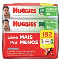 Toalha Umedecida Huggies Max Clean Leve 4 Pague 3 com 4 Pacotes de 48 Unidades cada -