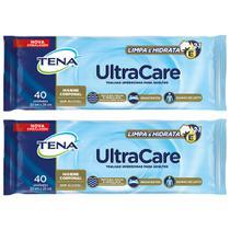 Toalha umedecida tena ultracare resistente para banho de leito limpa e hidrata 2x40un (20cmx26cm) -