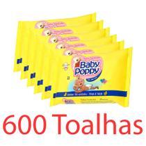 toalhas lenços umedecidos baby poppy premium mais encorpada kit 6x100 total 600 toalhas - Ákua