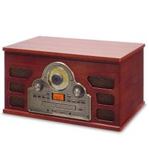 Toca Discos Raveo Tenor - Vitrola Retro com leitor de LP CD MP3 USB SD Rádio FM e Bluetooth Marrom -