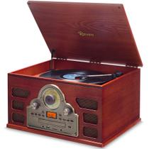Toca Discos Raveo Tenor - Vitrola Retro com leitor de LP CD MP3 USB SD Rádio FM e Bluetooth