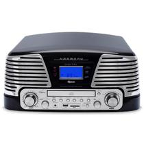 Toca Discos Vintage Anos 50 Raveo Harmony Bluetooth, AM e FM, CD Player, USB, SD, Gravação, Preto