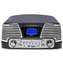 Toca Discos Vintage Anos 50 Raveo Harmony Bluetooth, AM/FM, CD Player, USB, SD, Gravação Titanium