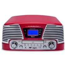 Toca Discos Vintage Anos 50 Raveo Harmony Bluetooth, AM/FM, CD Player, USB, SD, Gravação Vermelho -