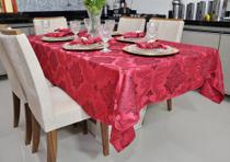 Tolha De Mesa Vinho Bordô 1,40x1,40 4 Cadeiras Forro Pano Buffet - Telma Megastore