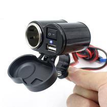 Tomada 12v USB 5v Para Moto Carregador de Celular e GPS - Tomate -