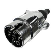Tomada Elétrica Macho para Engate de Reboque 6 Polos Alumínio Preto - Dni