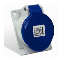Tomada Industrial de Embutir com tampa Azul 3P+T 32A 250V IP44 N4249-NEWKON STECK -