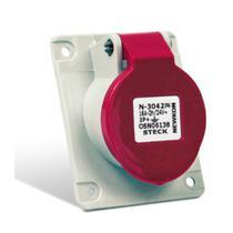 Tomada Industrial de Embutir com tampa Vermelho 3P+T+N 32A 440V IP44 N5246-NEWKON STECK -