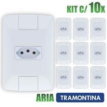 Tomada Simples Aria Branco Tramontina 10A/250V Kit c/ 10 unidades -