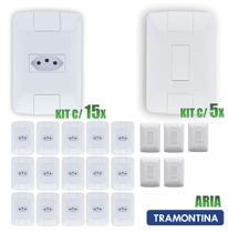 Tomada Simples Aria Branco Tramontina 10A/250V Kit c/ 15 unidades + Interruptor kit c/5 uni -
