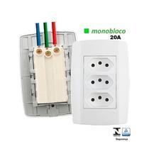 Tomada Tripla 20A Monobloco Placa Modular 4x2  Ilumi Lev -