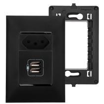 Tomada USB Parede Embutir Preta 2 Entradas 2400mA Legrand Pial Plus Carregador Celular Tablet -