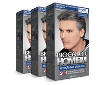 Tonalizante Biocolor Homem Redução Dos Grisalhos 40ml Kit C/3 -