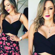 Top Crooped Feminino Transpassado da Moda - Beleza pura moda