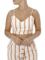 Top Cropped Feminino Autentique Nude/laranja -