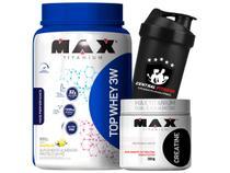 Top Protein Whey 3w 900g + Creatina 300g + Coqueteleira - Max Titanium -