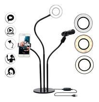 Top Ring Light De Mesa Luz Led Com Suporte Para Microfone Celular - Exclusivo