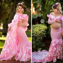 Top + saia babado + capa barbie , VESTIDO ROUPA BOOK GESTANTE, LOOK ENSAIO GESTANTE, - Midora