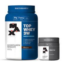 Top Whey 3W Mais Performance (900g) + Creatina 300g Max Titanium - Probiótica