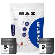 Top Whey 3w Refil Mais Performance 1,8Kg + Creatina 300g + Glutamina 300g - Max Titanium - Probiótica