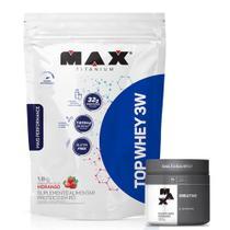 Top Whey 3w Refil Mais Performance 1,8Kg + Creatina 300g - Max Titanium - Probiótica