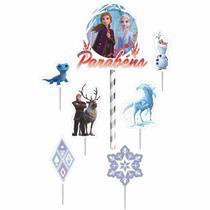 Topo Bolo Frozen 2 com 6 Toppers Festa de Aniversário - Fantasias Carol PI