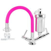 Torneira Color Slim Filtro Bancada Rosa Silicone C 65 - Premier